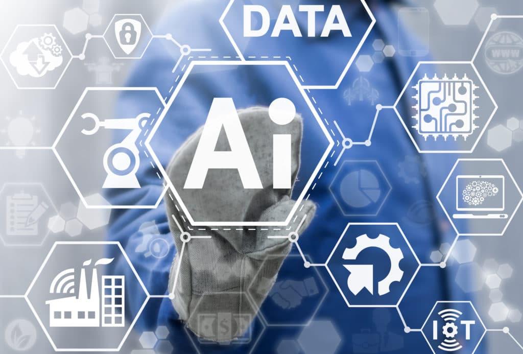 A men typing in AI in a futuristic board