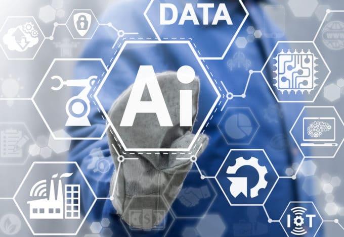 Men select AI on a futuristic board