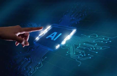 Un men touch artificial intelligence on a futuristic board